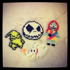 Nightmare before Christmas perler bead ornaments by  strider_sc