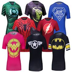 Ladies DC Comics Marvel Superman Batman/ Wonder Women's Fitness joger T Shirt Girls Bodybuilding Compression Tights Tee Tops #Dresses #Tees