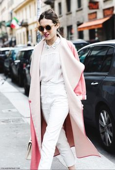 blush coat over an a