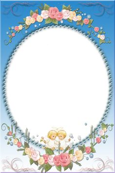Blue Transparent Frame with Angels