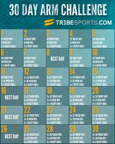 30 Day Arm Challenge! Might use in conjunction with my 30 day squat challenge! Find more like this at gympins.com