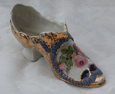 Ornate German Porcelain Shoe Figurine with Roses, Galluba & Hofmann Antique by MendozamVintage on Etsy