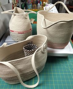 Coiled rope bags, by Andrea