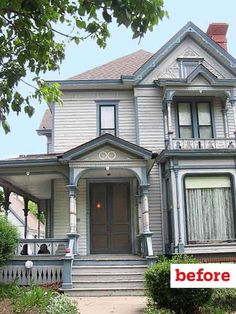 before gothic revival exterior, curb appeal before and after