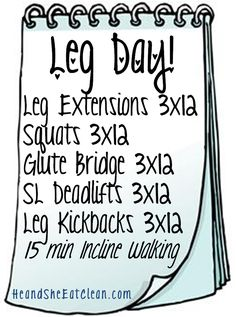 The Workouts! Leg Day! #heandsheeatclean #fitness #exercise #legs #muscle #weightlifting