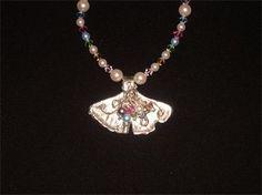 PURE SILVER GINKGO LEAF PEARL & CRYSTAL NECKLACE - $115.00 #jewellery #pure silver #silver #ginkgo leaf #leaf #pearls #swarovski crystals #crystals #handmade #handcrafted
