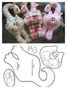 59580 - Her Crochet Cat Applique, Applique Quilts, Crochet Doll Pattern, Cat Pattern, Kids Pillows, Animal Pillows, Sewing Toys, Sewing Crafts, Cat Cushion