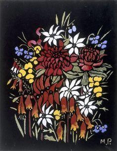 Waratahs etc, (circa 1949) by Margaret Preston :: The Collection :: Art Gallery NSW