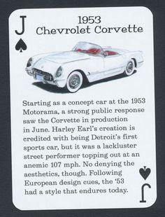 1953 Chevrolet Corvette playing card single swap jack of spades - 1 card