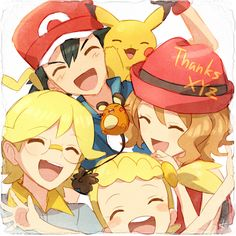 Pokemon Ash, Serena, Clemot, and Bonnie by Meyly