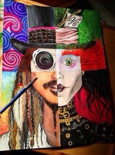Johnny Depp tribute painting (willy wonka, mad hatter, captain jack sparrow, Edward scissorhands)