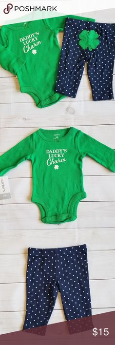 NEW//NWT~CARTERS~1ST ST PATRICKS DAY BODYSUIT~ONE PIECE~IRISH SHAMROCK~BABY GIRLS