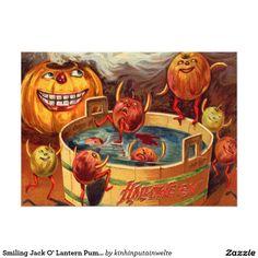 Smiling Jack O' Lantern Pumpkin Apple 5x7 Paper Invitation Card