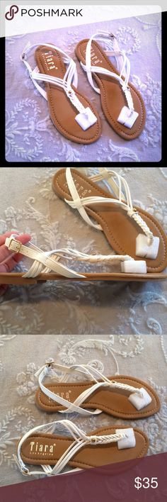 Tiara Los Angeles White Braided Thong Sandal 7 White with gold tone hardware. I do NOT trade or hold items. Tiara Los Angeles Shoes Sandals