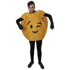 One size grappig knipoog emoticon kostuum van foam voor volwassenen. Het gele emoticon kostuum heeft de opdruk van een gezicht en een uitsnede voor je eigen gezicht aan de bovenzijde. Materiaal: 100% polyester foam. Het kostuum past tot maat XL.