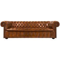 Vintage Chesterfield Cognac Leather Sofa