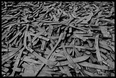 As the vanquished Hutus fled into Tanzania, they had to leave at the border the weapons with which they had committed the genocide, Rwanda, 1994