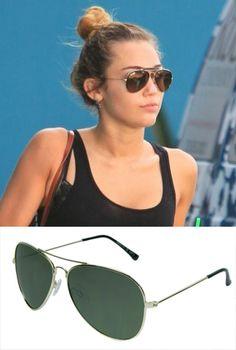 Consigue el #estilo de #MileyCyrus con #gafas de #sol aviador de la colección Amichi by Opticalia