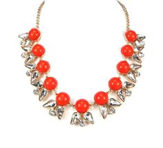 WOMEN'S FASHION GORGEOUS CUTE FUN ORANGE COLOR SPRING SUMMER CRYSTAL DESIGN STATEMENT NECKLACE by shopluvmeTake for me to