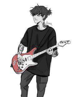 Guitar Drawing, Boy Drawing, Drawing Poses, Boy Character, Character Drawing, Art Inspiration Drawing, Character Design Inspiration, Emo, Guitar Guy