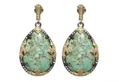 Old World midnight large pear earring on straight post with Chrysacolla and white diamonds.