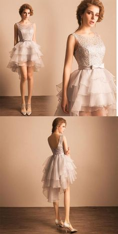 A Line Homecoming Dresses,Silver Homecoming Dress,Elegant Prom Dresses,Sexy Homecoming Dress,Short Evening Dress,Lace Prom Dress,Layered Homecoming Dresses