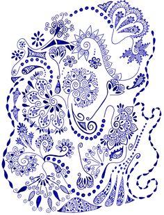 doodle art.  love the blue