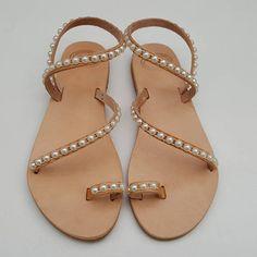 Greek Sandals Leather Sandals Pearl Sandals