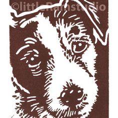 Wiry Jack Russell Dog - Linocut by Little Ram Studio