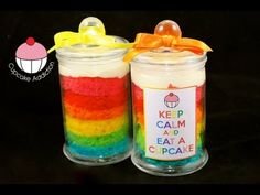 Make a Rainbow Layer Cake IN A JAR! Learn how to make these delicious treats, and heaps more at Mycupcakeaddiction! Mason Jar Cupcakes, Cupcake Candle, Girly Cakes, Fancy Cakes, Baking Cupcakes, Cupcake Cakes, Mini Cakes, Frosting Recipes, Cupcake Recipes