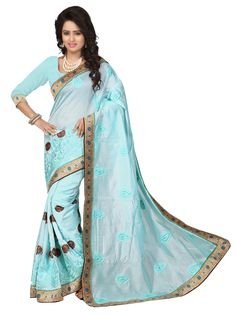Sky Blue Chanderi Silk Saree With Blouse 70721