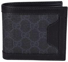 NEW Gucci Men's 322145 Black Grey GG Supreme Canvas Bifold Wallet W/Coin Pocket #Gucci #Bifold
