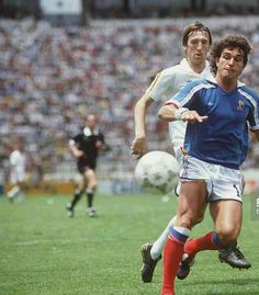 France 4 Belgium 2 in 1986 in Puebla. Jean-Marc Ferreri shapes to crack home the equaliser and its 1-1 on 27 minutes in the 3rd place play-off at the World Cup Finals.