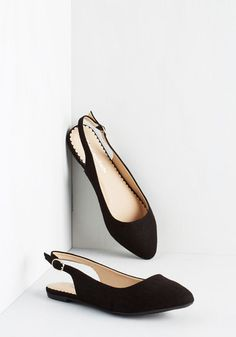 Throwback Hers-day Flat - Flat, Woven, Black, Solid, Work, Minimal, Good, Slingback, Variation