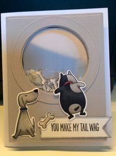 """My take with Simon Says Stamp - My Favorite Things """"You make my tail wag"""" shaker inspired by Joanna Harty"""