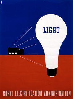 rural electrification, lester, beall, light, bulb, red, white, blue, americana