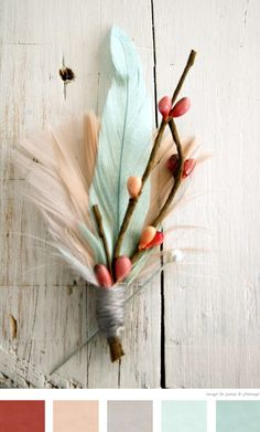 Best palette, except red should be coral and/or poppy red; soft peach/pink, warm grey and duck-egg blue. And maybe a bit of warm pale yellow | springtime color scheme Boutonniere by PompandPlumage on Etsy. Love the idea of feathers in this arrangement!!