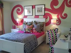 We are just loving this swirl wall decal in this teen girl bedroom.   Wall art by Anita Roll Murals.