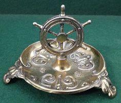 Vintage Brass Ships Wheel Pin Dish / Ashtray - Naval Militaria Interest