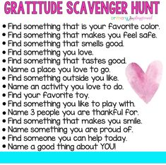 """Today is Wednesday and that means a new scavenger hunt for you to tackle. This week's hunt is all about finding things you are grateful for. 🥰 Remember to share your findings with us with pics or a video. Therapy Activities, Toddler Activities, Learning Activities, Mindfulness Activities, Learning Quotes, Therapy Ideas, Educational Activities, Education Quotes, Social Emotional Learning"