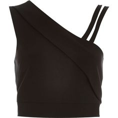 River Island Black asymmetric one sleeve crop top ($30) ❤ liked on Polyvore