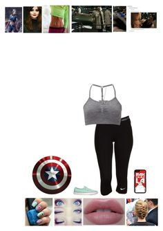 """-is holding capt's shield before being transformed into ""American Beauty""- so what you're telling me is that you, Director Fury, want me to become the woman captain america? ~Sierra"" by bunheads-hottie ❤ liked on Polyvore featuring Coleman, NIKE, Sweaty Betty, Samsung and Vans"