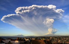 Unexpected: The Calbuco last erupted in 1972, and while it is widely believed to be among Chile's most dangerous, it was not under observation before it erupted in April (the eruption pictured from Puerto Varas)