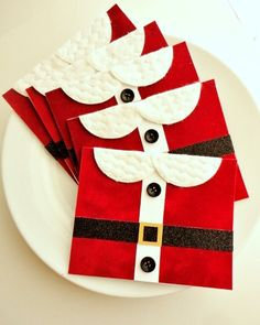 Handmade Christmas Card Set of 5 Red Velvet by InspiredGreetingsAD, $20.00