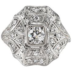Art Deco Diamond Gold Statement Ring circa 1920   From a unique collection of vintage cluster rings at https://www.1stdibs.com/jewelry/rings/cluster-rings/
