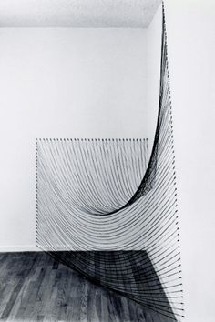 dianne romaine - installation with black string, claremont studio, 1980 Land Art, Modern Art, Contemporary Art, Contemporary Building, Contemporary Cottage, Contemporary Apartment, Contemporary Wallpaper, Contemporary Chandelier, Contemporary Bedroom