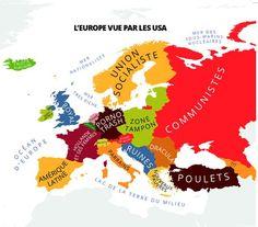 carte des préjugés : l'Europe vue par les USA !