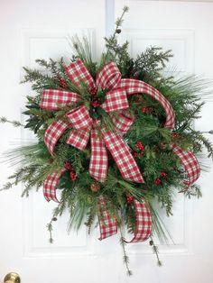 Christmas Wreath, Evergreen Wreath, Holiday Wreath, Winter Wreath by HeatherKnollDesigns on Etsy