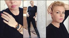 mom style, 5 friday confessions, all black outfit, blonde pixie hair cut, glitter nails