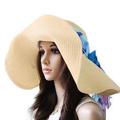 da89858fe83ca Luxury Lane Women s Beige Floppy Paper Straw Sun Hat with Removable Blue  Scarf  luxurylane
